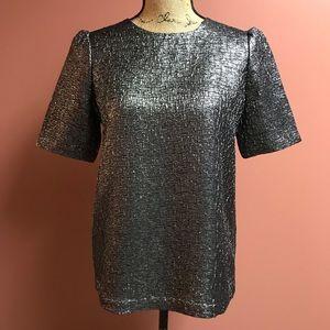 Kate Spade Silver/Gray Metallic Top